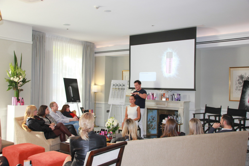 Charles Worthington demonstrated his products on the model to beauty media